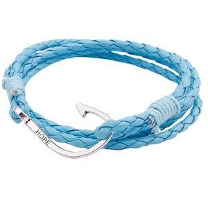 Jewelry - Anchor Hook Sky Blue Braided Rope Wrap Bracelet